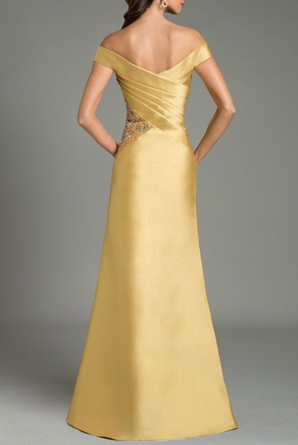 Feriani Couture Golden Off  Shoulder Gown Mother of Bride Dress