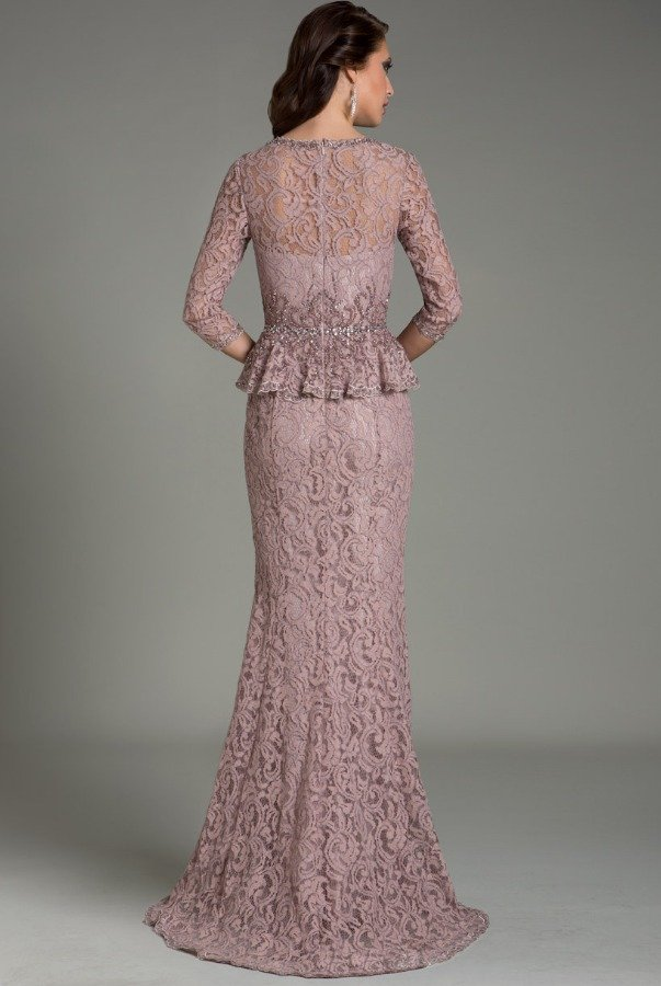 Feriani Couture 18512 Mauve Peplum Lace Gown Mother of Bride Dress
