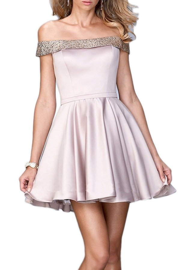 La Femme 22105 Off Shoulder Pink Champagne Party Dress