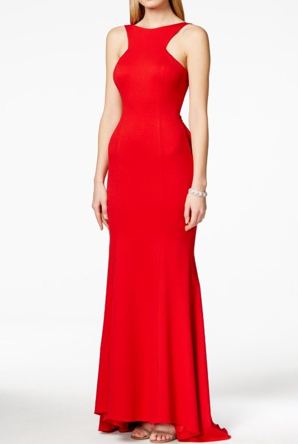 Xscape Red Ruffled Open-Back Gown Evening Dress Petite