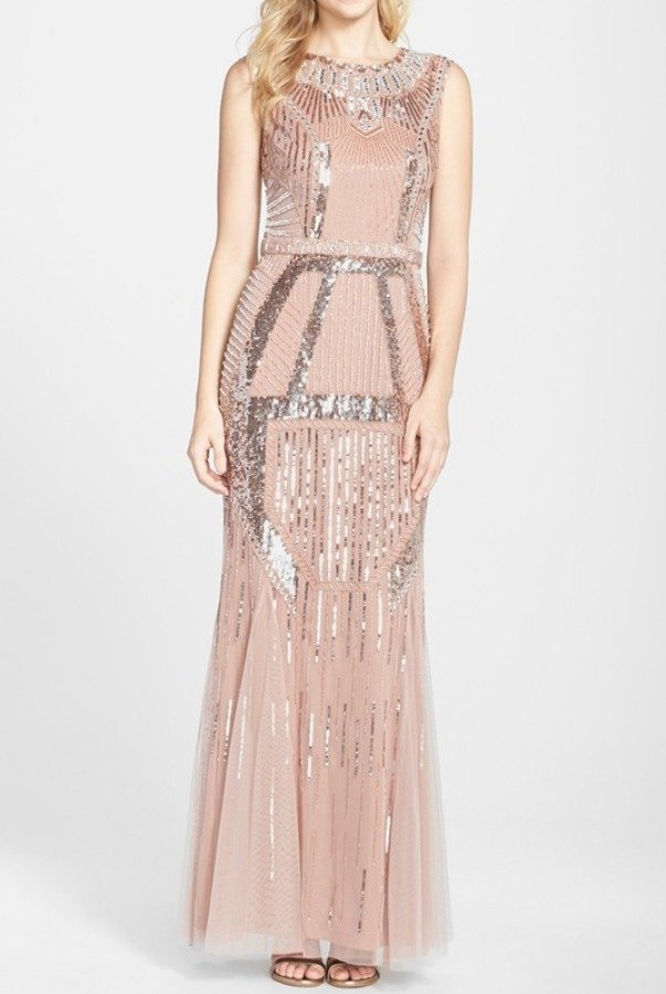 JS Boutique Blush Pink Beaded Art Deco Shine Gown Dress