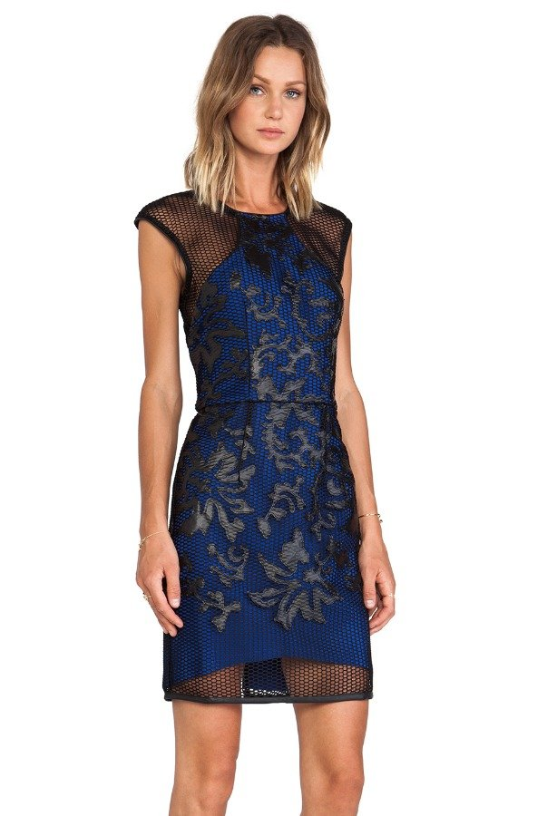 LUMIER CAUGHT UP ON YOU - Breaking Hearts Party Dress Blue Black Scuba