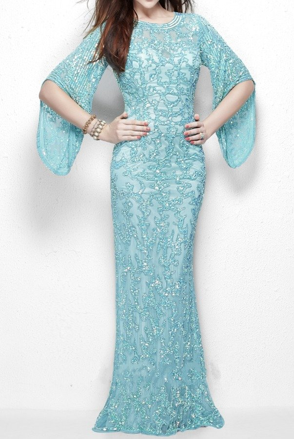 Primavera Couture 9713 Long Sleeve Sequin Evening Dress Gown in Aqua