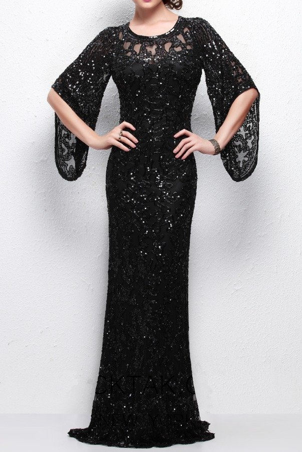 Primavera Couture 9713 Black Wide Sleeve Beaded Sequin Gown Dress