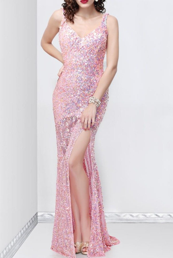 Primavera 9838 Pink sequin cowl back gown mermaid dress