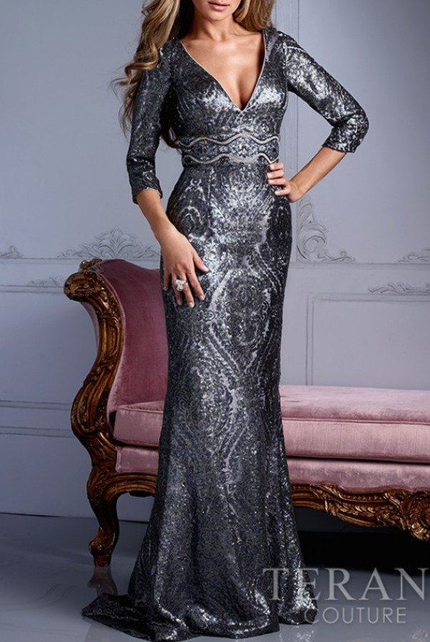 Terani Couture M2248 Silver beaded long sleeve evening gown