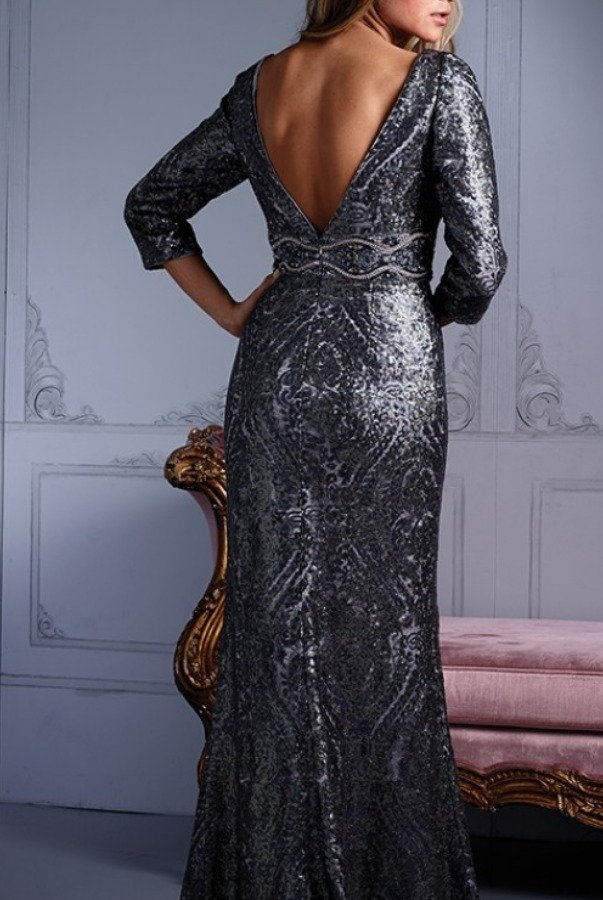 Terani M2248 Silver Beaded Long Sleeve Evening Gown Poshare