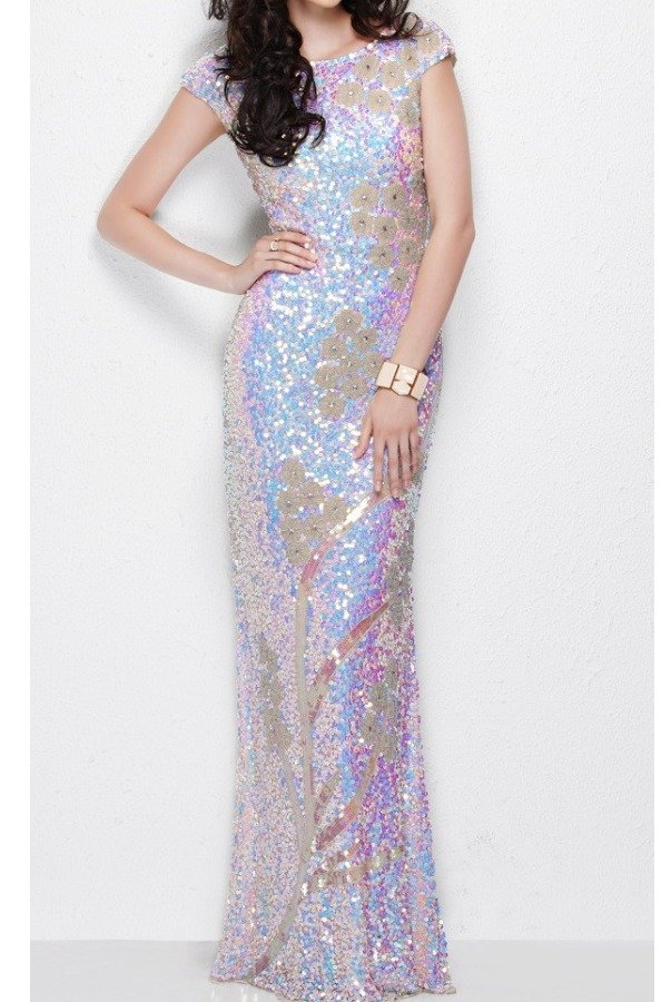 Primavera 1128 Nude Pearl Sequin Gown dress