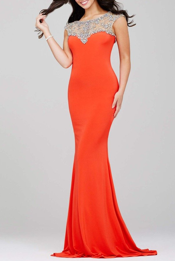 Jovani 24222 Orange Embellished Neckline Gown Long Dress