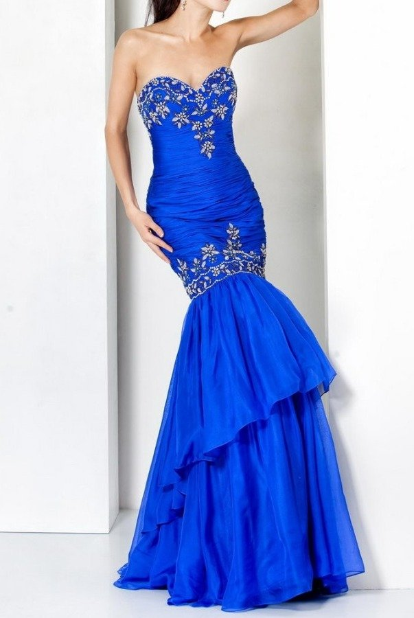Jovani 5466 Strapless Fitted Mermaid gown royal blue