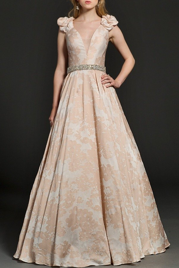 Jovani 94290 Floral Champagne Ball Gown Crystal Waist
