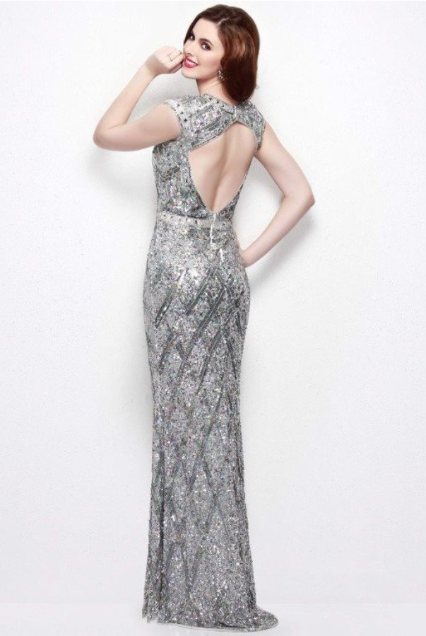 Primavera 1555 Cap Sleeve Open Back Silver Stone Beaded Gown