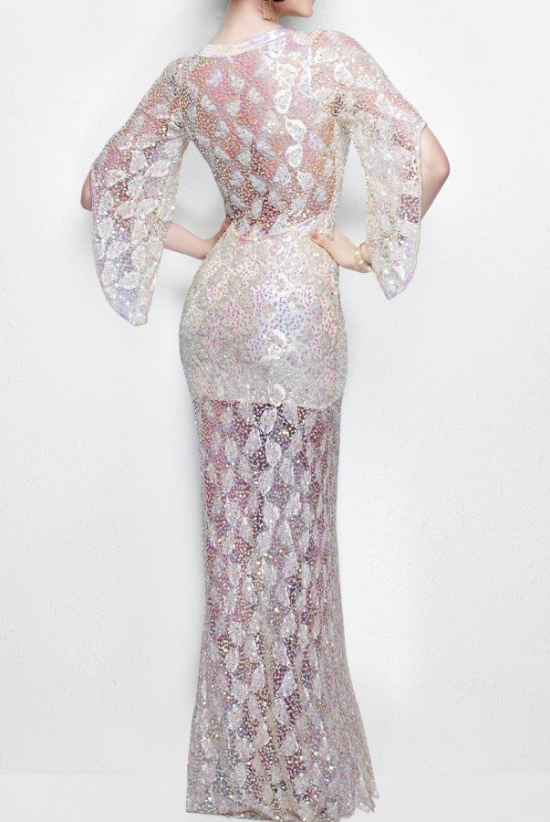 Primavera Couture 9931 Pearl Nude Sequined Bell Sleeves Gown