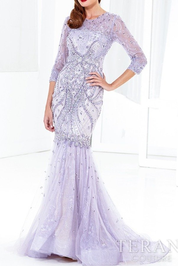 Terani Couture GL3914 Lace Beaded Mermaid Gown in Antique Lilac
