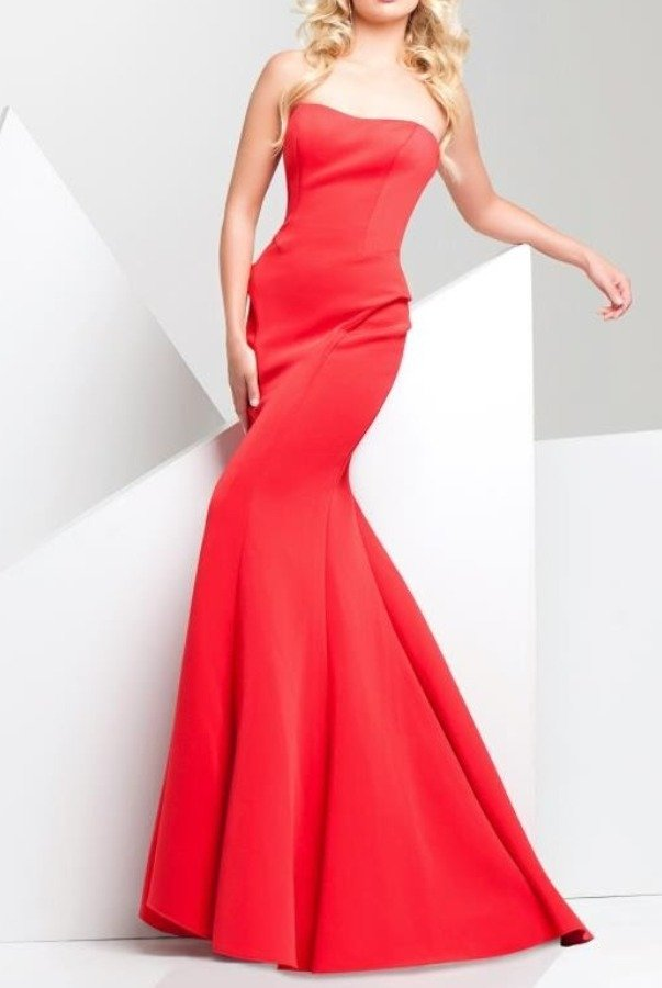 Tony Bowls Paris 115704 Strapless Red Mermaid Gown Jersey