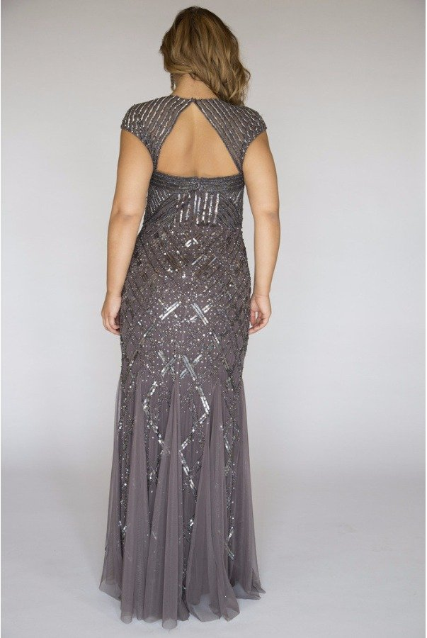 Adrianna Papell Cap Sleeve Bead Dress Sequin Beaded Gown Gunmetal ...