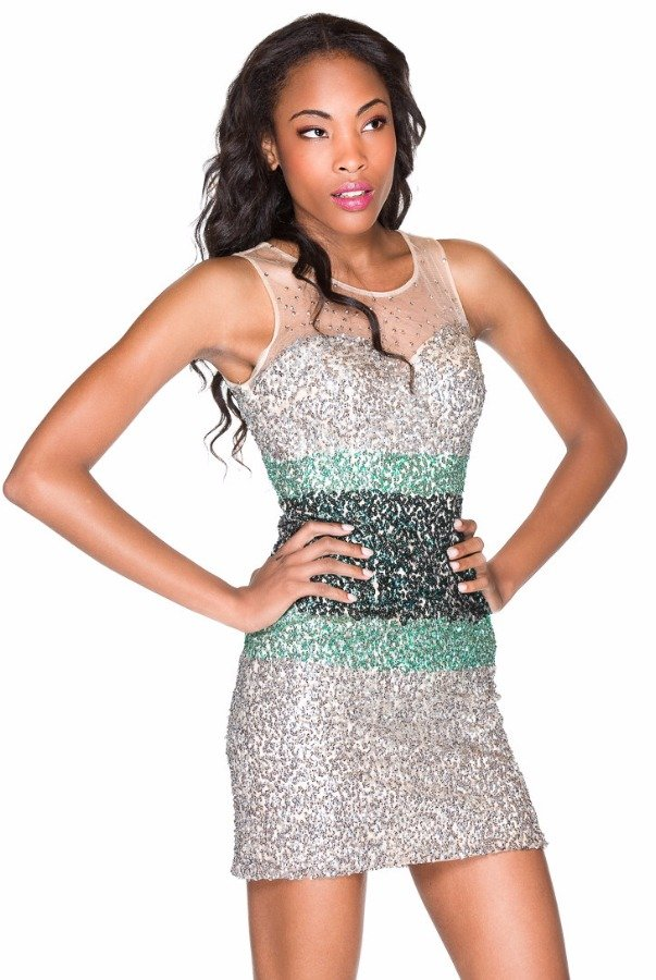 Sherri Hill Silver Green Sequin Short Party Cocktail Dress