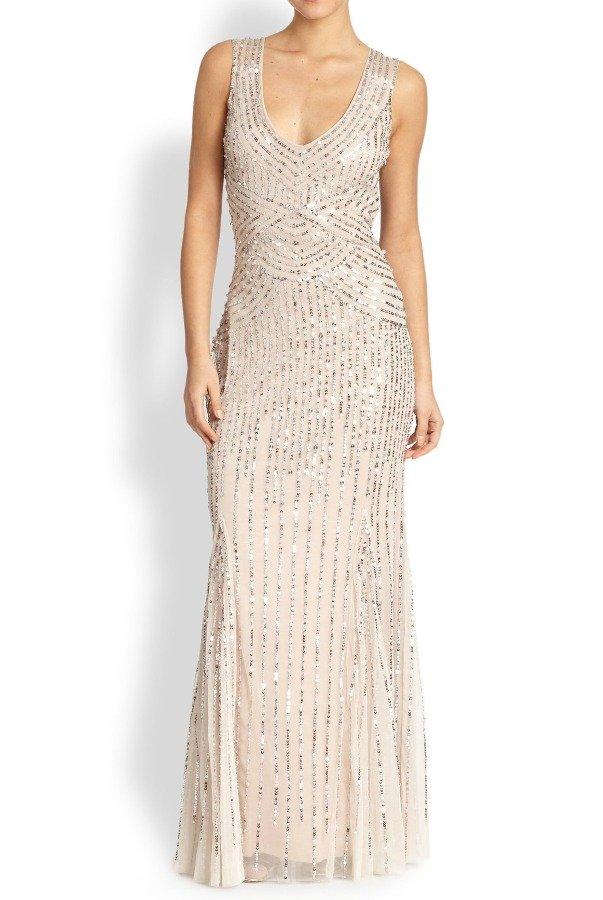 Aidan Mattox Sequin Beaded Tulle Dress Gown in Linen Champagne | Poshare