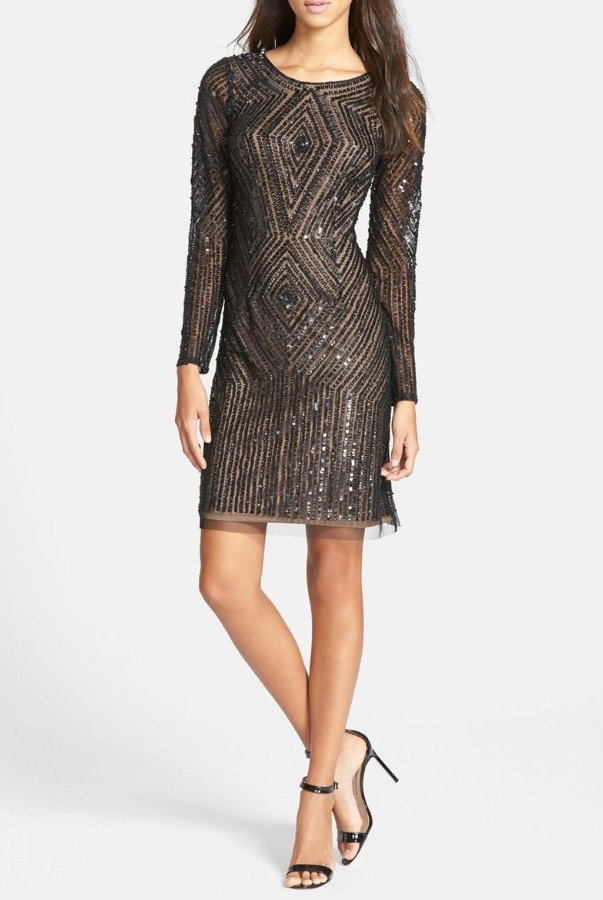 Adrianna Papell Beaded Sequin Mesh Sheath Short Dress Long sleeves