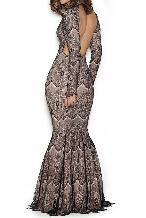 House of CB  Aubrina Lace Mermaid gown Open Back Dress