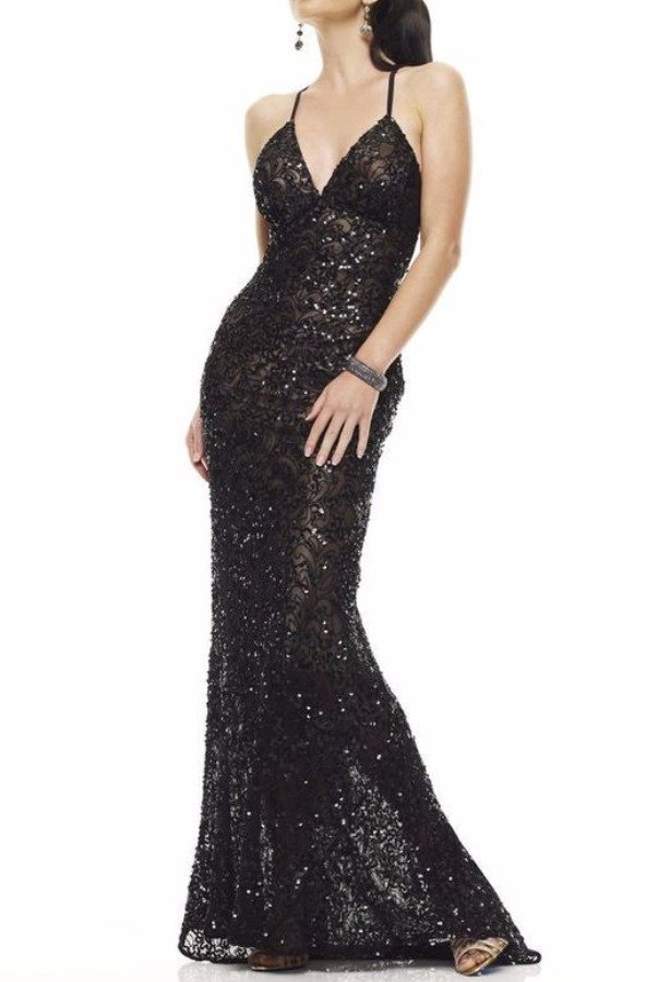 5a898235b71 ... Beaded Sequin Open Back Gown Dress · Scala