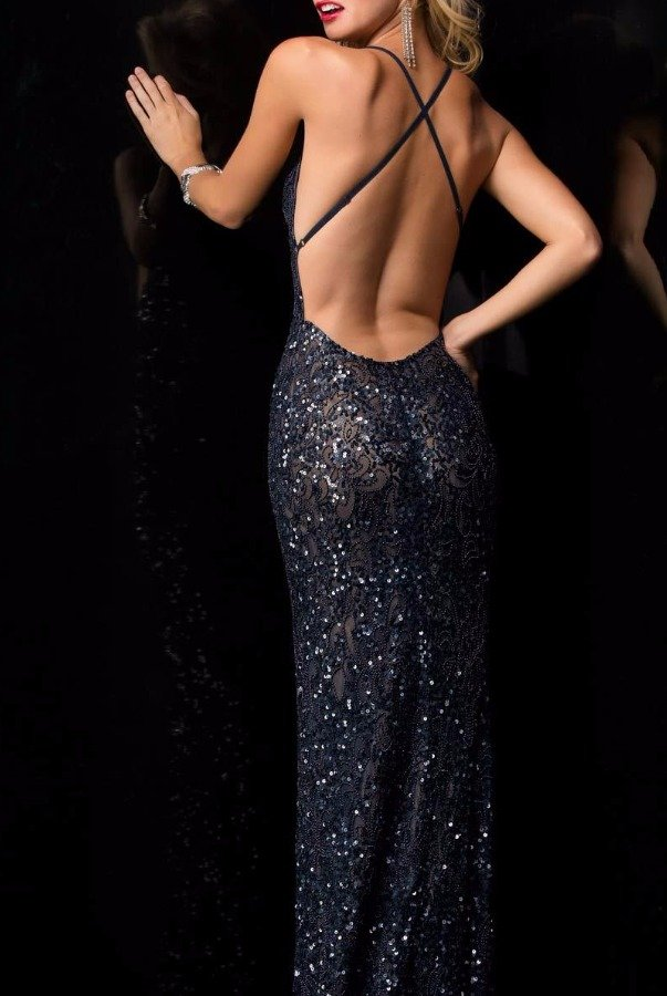 Scala 47542 Black Beaded Sequin  Open Back Gown Dress
