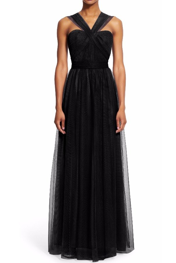 Adrianna Papell Bridesmaid Convertible Tulle Dress Gown in Black