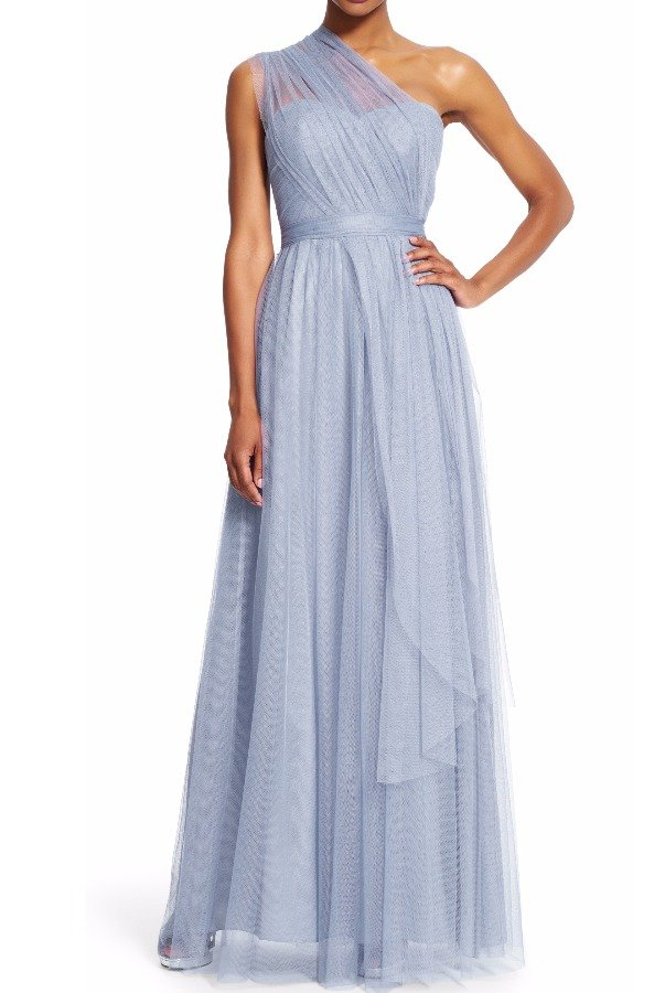 Adrianna Papell Bridesmaid Convertible Tulle Gown in Silver Grey