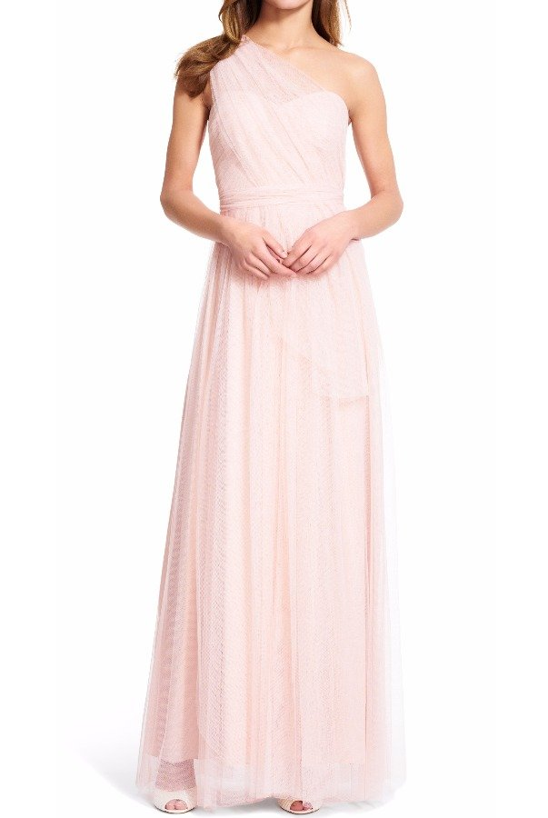 Adrianna Papell Bridesmaid Convertible Tulle Gown in Champagne