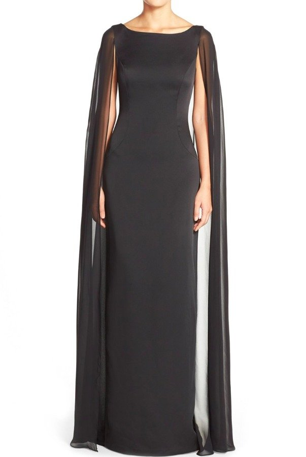 Adrianna Papell Satin Column Gown with Chiffon Cape Black Dress