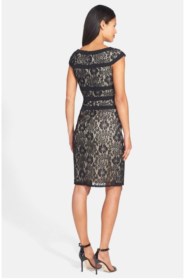 Adrianna Papell Black Lace Sheath Dress
