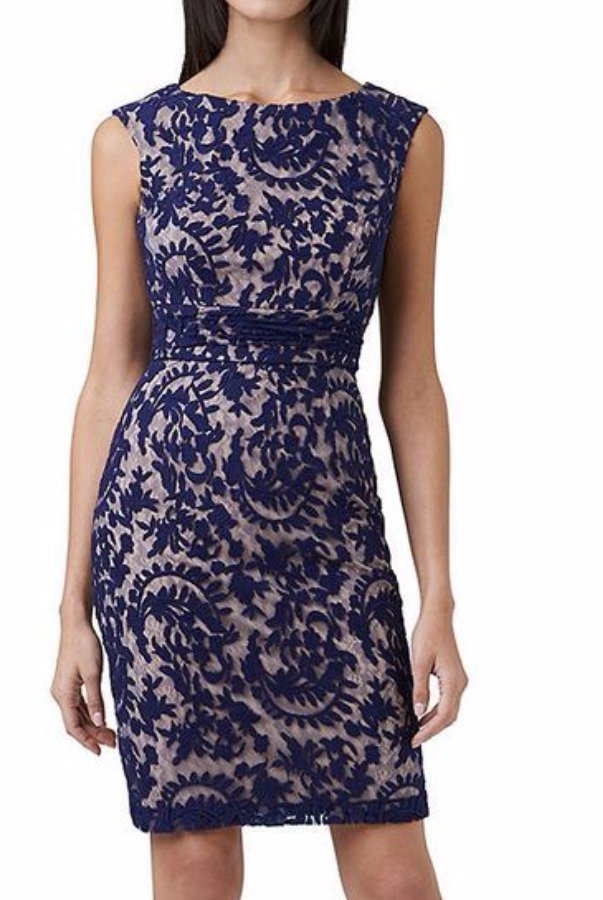 Adrianna Papell Lace Overlay Sheath Dress Navy Blue Nude Cocktail
