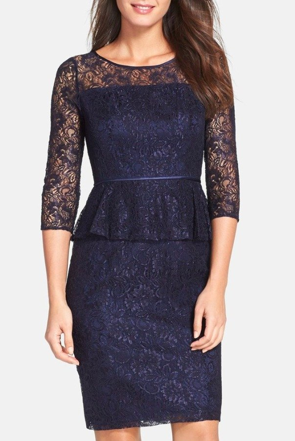 Adrianna Papell Peplum Lace Sheath Dress in Navy Work Day Cocktail