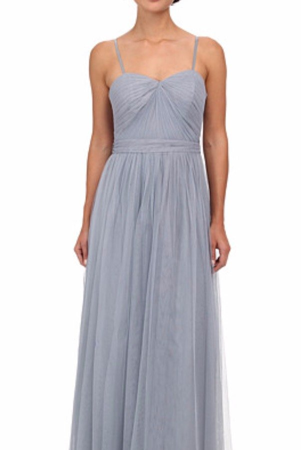 Adrianna Papell Bridesmaid Convertible Tulle Ball Gown Slate Blue
