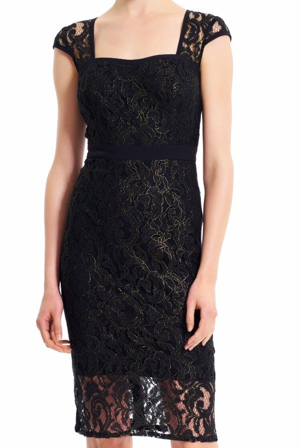 Adrianna Papell Metallic Black Gold Lace Sheath Dress