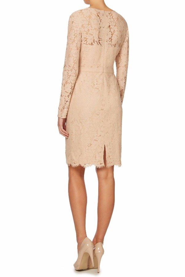 JS Collections Long sleeve all over lace dress in BLUSH