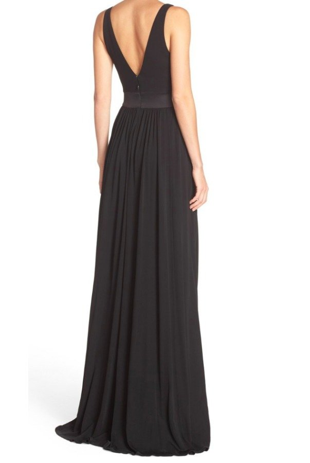 23e0647b390 ... Vera Wang Long V-Neck Jersey Gown in Black ...