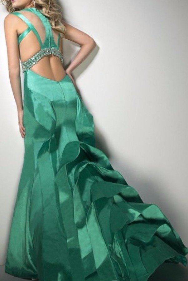Tony Bowls Prom Pageant Mikado Ruffle Gown in Green