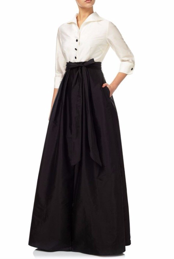Adrianna Papell Women's Black Ivory Blouse Hi Low Taffeta Gown