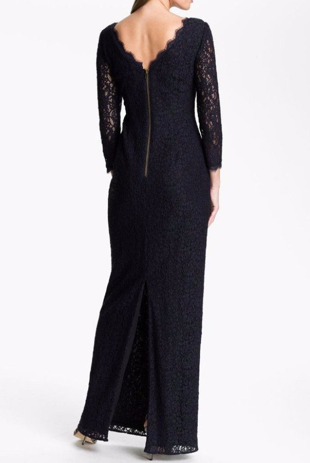 Adrianna Papell Scalloped Lace Long Sleeve Mother of Bride Gown