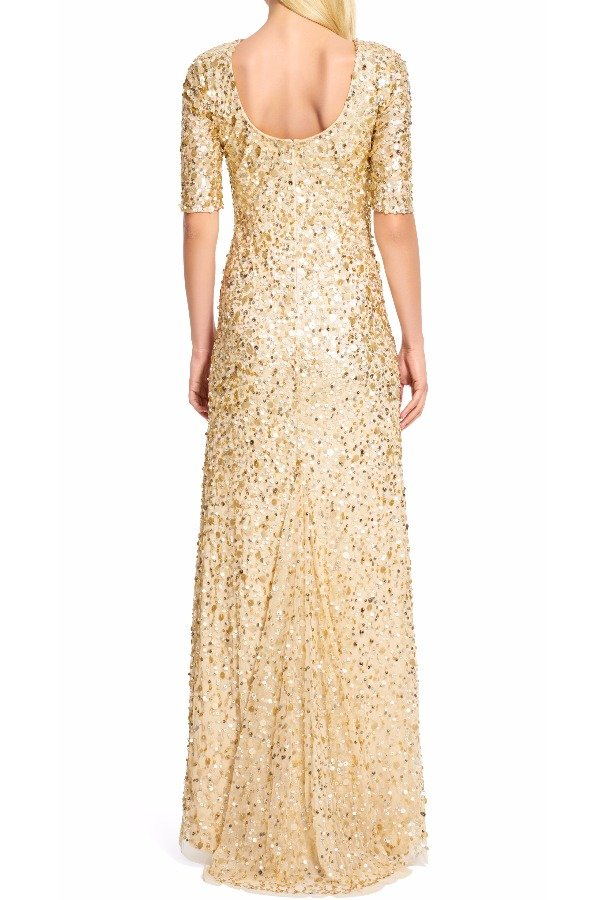 Adrianna Papell Three Quarter Sleeve Sequin Gown Rose Gold Dress ...