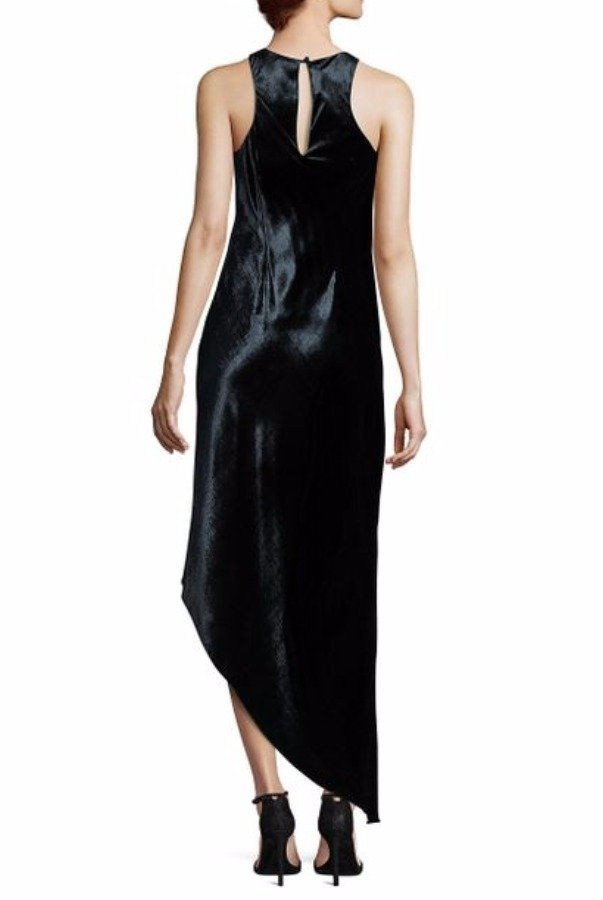 Aidan Mattox Velvet Asymmetrical Bias Cut Dress