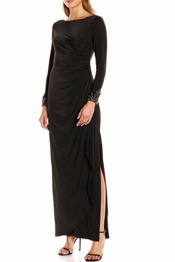 Adrianna Papell Venecian Jersey Draped Gown Black Long Sleeve Embe