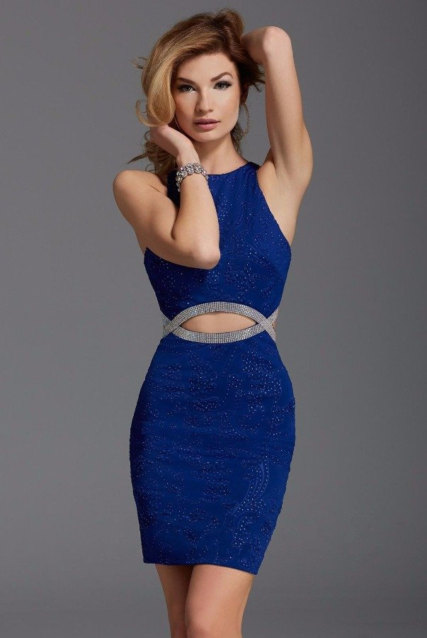 571bc95fc14 ... Clarisse 352 Blue Beaded Cutout Cocktail Dress Open Back