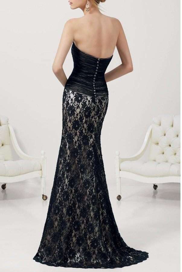 Mori Lee 71139 Beaded Black Lace Mermaid Strapless Gown