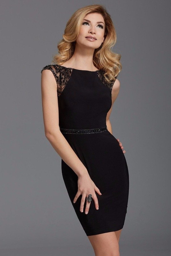 Clarisse Black Beaded Cap Sleeve Cocktail Dress 2902
