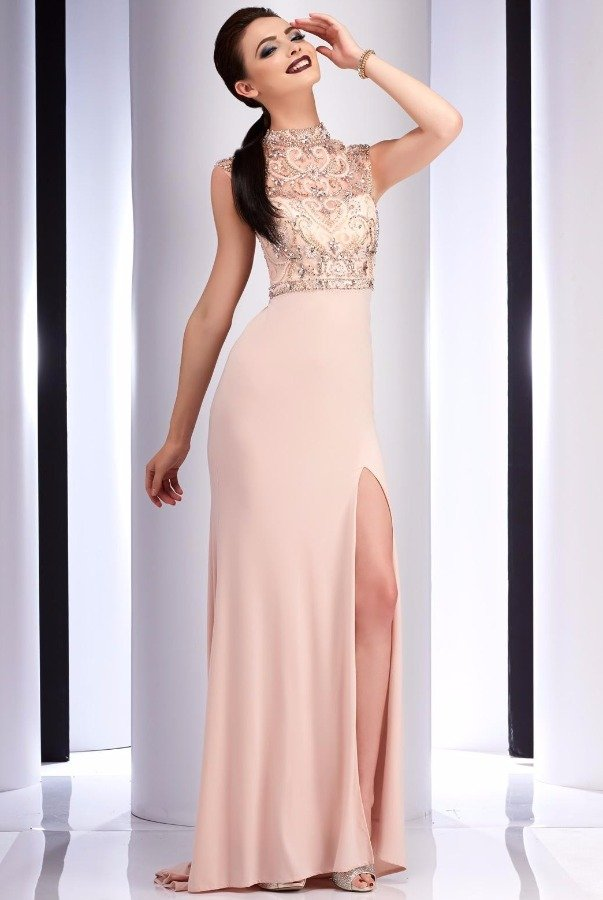 Clarisse 2823 Blush Beaded Belle Evening Gown
