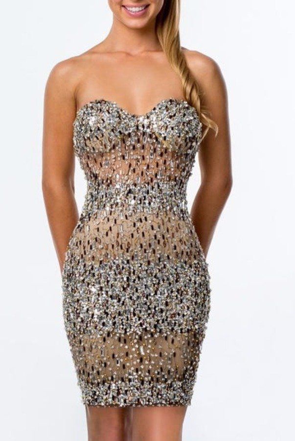 Terani Couture Strapless sparkly beaded cocktail dress 1521H1030