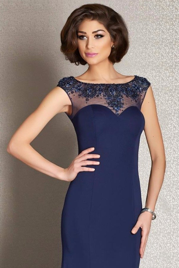 Clarisse M6241 Navy Blue Beaded Sweetheart Evening Gown