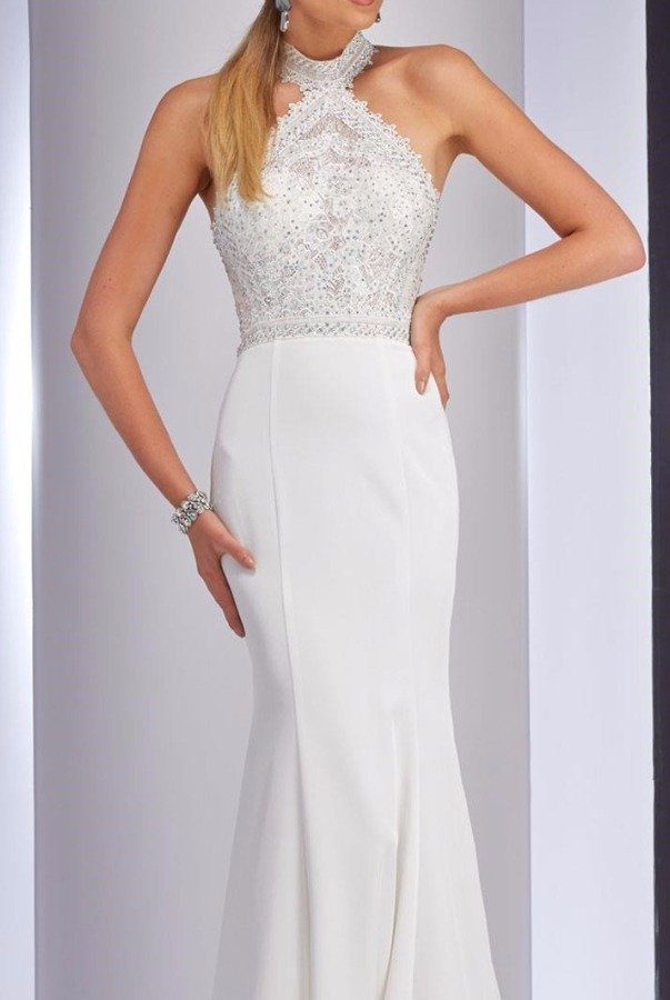 Clarisse 4733 White Halter Beaded Gown Evening Dress